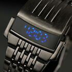 INFANTRY Mens Blue LED Digital Wrist Watch Military Sport Iron Stainless Steel