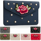 Floral Embroidered Evening Clutch Synthetic Flat Envelope Bags Pearl Rivet Studs