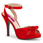 Red Satin 50s Pin Up Girl Salsa Swing Dance Large Size Womans Heels 13 14 15 16