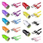 3ft Color Flat Noodle Micro USB Cable+2A Car Charger Adapter for Cell Phones