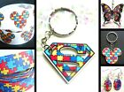 SUPERHERO JIGSAW BUTTERFLY MICKEY AUTISM AWARENESS KEYRING NECKLACE RIBBON
