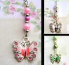 LAST FEW BUTTERFLY CAR REAR VIEW MIRROR DANGLE CHARM CHAIN HANGING ORNAMENT