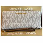 NWT MICHAEL KORS LEATHER OR PVC JET SET TRAVEL CONTINENTAL WALLET IN VARIOUS