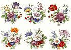 6 Traditional Wildflower Flower Select-A-Size Waterslide Ceramic Decals Bx