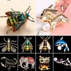 DIY Animal Dog Dolphin Elephant Owl Pearl Crystal Brooch Pin Spring Jewelry To U