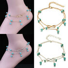 Women Girls Double Infinite Beads Pendant Anklet Foot Chain Lucky Jewery Gift
