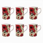 NEW Red Poppy Pattern Mugs Set of 6 - Leonardo Fine Bone China Mugs Collection