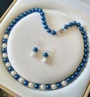 8mm Blue/white South Sea Shell Pearl necklace AAA 18 inches Earring Set K99