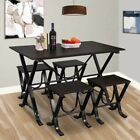 5 Piece  Dining Table Set 4 Chairs Wood Metal Kitchen Dining Room Furniture