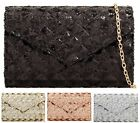 WOMENS SEQUIN SHIMMER ENVELOPE WEDDING OVERFLAP PROM PARTY EVENING CLUTCH BAG