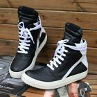 Mens Sport Couple Round Toe Lace Up High Top Leather Casual Shoes Ankle Boots