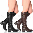 WOMENS LADIES LOW MID CHUNKY HEEL BUCKLE STRAP RIDING CALF KNEE BOOTS SIZE