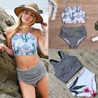 Women O-Neck Striped Floral High Waist Sexy Swimsuit Split Bikini Swimwear NICE