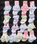 BABY GIRL BEAUTIFUL LACE FRILL DIAMANTE SOCKS-0/12 MONTHS-CREAM/WHITE/PINK- NEW