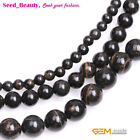 """Natural Dark Brown Golded Black Obsidian Stone Round Jewelry Making Beads 15"""""""