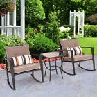 3 Pcs/set Patio Rattan Wicker Rocking Chair Coffee Table Home Garden Furniture