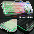 Aluminum Panel Luminous Wired Gaming Mechanical Keyboard and Mouse Sets PC Gamer