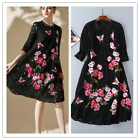2018 Black Lace Embroidery New Loose Occident Women Street Runway Fashion Dress