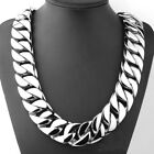 stainless steel polished curb 24mm band 70cm length heavy long chain necklace