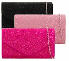 NEW WOMENS ALL OVER DIAMANTE LADIES ENVELOPE WEDDING PARTY EVENING CLUTCH BAGS