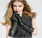 "women  40cm(15.75"") long real sheep leather evening long gloves in black"