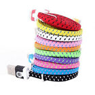 HOT Braided 6FT 10FT Flat Noodle Micro USB Data Sync Cable For Galaxy S4 S5