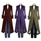 Gothic Retro Women Steampunk Victorian Swallow Tail Long Trench Coat Jackets EA
