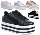 LADIES FLAT SOLE CHUNKY CASUAL SPORTS PLIMSOLLS SNEAKER PUMPS FAUX LEATHER SHOES