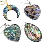 Assorted Shapes Rainbow Abalone Paua Shell Gemstone Pendant Necklace Charm Gift