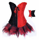 Red/Black Embroider Floral Corset for wedding and mini Tutu Fancy Dress Costume