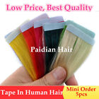 Paidian Colorful Tape In Hair Extensions Remy  Human Hair Glue in Extensions