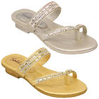 Girls Sandals Kids Infants Diamante Slip On Slippers Toe Post Casual Fashion New
