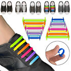 16pcs Easy No Tie Shoelaces Elastic Silicone Flat Shoe Lace Strings Sports Walk