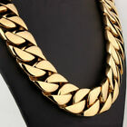 24k Gold filled curb 24mm band 70cm length solid heavy chain necklace jewelry