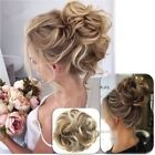 UK Real Natural Hair Scrunchies Updo Hair Buns Curly Mess Wedding Lady Girl Gift