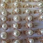 Wholesale Rings 5 - 30 Rings Rose Gold Sparkling Pearls Wedding Prom free Box