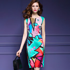 Womens Printed Floral Knee length Dress Slim Fit bodycon Skirt Retro Sleeveless