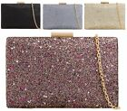New Ladies Glitter Bridal Party Evening Party Bridal Hardcase Purse Clutch Bag