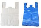 85 PLASTIC VEST CARRIER BAGS BLUE OR WHITE *ALL SIZES* SUPERMARKETS