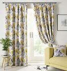 PAINTED-STYLE FLORAL FLOWERS OCHRE YELLOW LINED PENCIL PLEAT CURTAINS *9 SIZES*