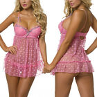 Women Sexy Lingerie Dots Mesh Babydoll Set Lace Chemise Sheer Sleepwear Pink