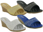GIRLS GLITTERY PARTY WEDGE MULES SANDALS,BLACK GOLD SILVER SIZE 12-2.5 GSA-4929