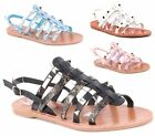 WOMENS CUT OUT FASHION GLADIATORS SUMMER PARTY SANDALS BEACH FLAT SHOES SIZE
