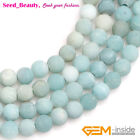 """Natural Frosted Round Blue Amazonite Stone Big Hole Beads For Jewelry Making 15"""""""