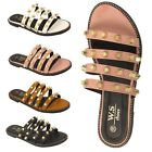 LADIES WOMENS FLAT SPIKY STUD STUDDED SLIP ON SLIDER SUMMER SANDALS SHOE SIZE