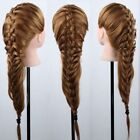 US 100% Real Human Hair Salon Head Training Mannequin Doll 24' Makeup with Clamp