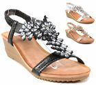 LADIES WEDGE SANDALS WOMEN HEELS STRAPPY GLADIATOR DIAMANTE SUMMER EVENING SHOES