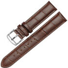 14-24mm Mens Womens Unisex Silver Clasp Wrist Watch Leather Strap Bands & Tool image