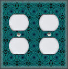 Metal Light Switch Plate Cover Retro Pattern Home Decor Dark Teal Home Decor