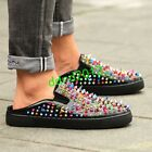 High-end Men Punk Leather Colorful Rivet Round Toe Flat Casual Sandals Slippers
